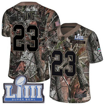 Nike Patriots #23 Patrick Chung Camo Super Bowl LIII Bound Men's Stitched NFL Limited Rush Realtree Jersey