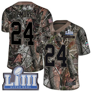 Nike Patriots #24 Stephon Gilmore Camo Super Bowl LIII Bound Men's Stitched NFL Limited Rush Realtree Jersey