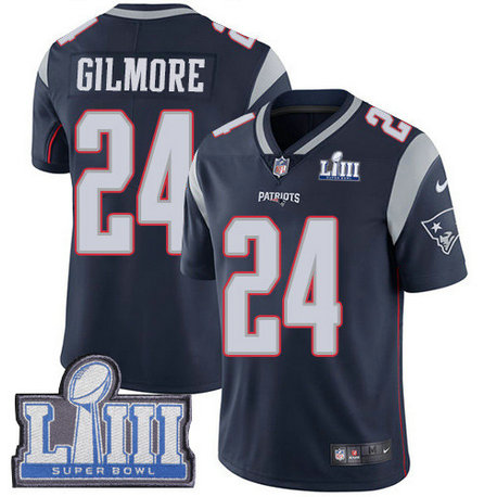 Nike Patriots #24 Stephon Gilmore Navy Blue Team Color Super Bowl LIII Bound Men's Stitched NFL Vapor Untouchable Limited Jersey