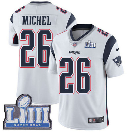 Nike Patriots #26 Sony Michel White Super Bowl LIII Bound Men's Stitched NFL Vapor Untouchable Limited Jersey