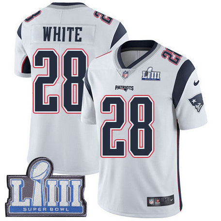 Nike Patriots #28 James White White Super Bowl LIII Bound Men's Stitched NFL Vapor Untouchable Limited Jersey