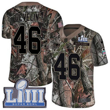Nike Patriots #46 James Develin Camo Super Bowl LIII Bound Men's Stitched NFL Limited Rush Realtree Jersey