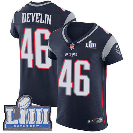 Nike Patriots #46 James Develin Navy Blue Team Color Super Bowl LIII Bound Men's Stitched NFL Vapor Untouchable Elite Jersey