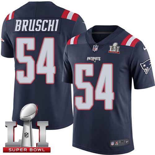 Nike Patriots #54 Tedy Bruschi Navy Blue Super Bowl LI 51 Limited Rush Jersey