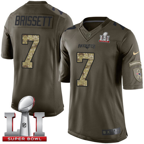 Nike Patriots #7 Jacoby Brissett Green Super Bowl LI 51 Limited Salute to Service Jersey