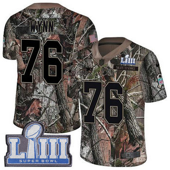 Nike Patriots #76 Isaiah Wynn Camo Super Bowl LIII Bound Men's Stitched NFL Limited Rush Realtree Jersey