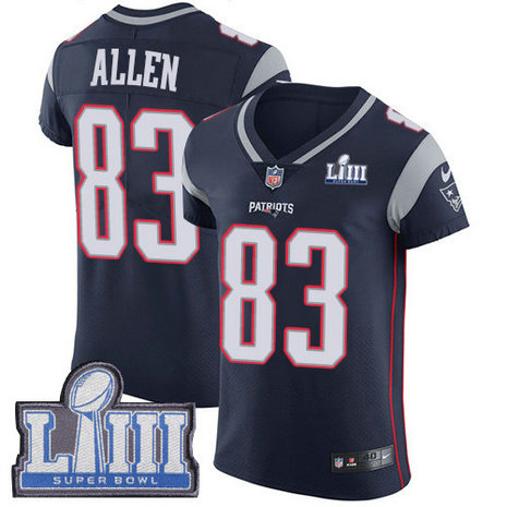 Nike Patriots #83 Dwayne Allen Navy Blue Team Color Super Bowl LIII Bound Men's Stitched NFL Vapor Untouchable Elite Jersey
