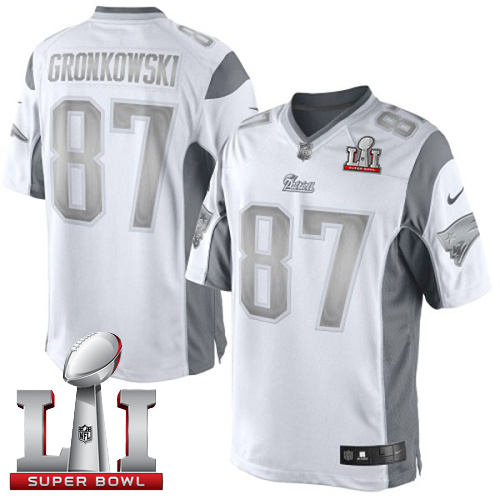 Nike Patriots #87 Rob Gronkowski White Super Bowl LI 51 Limited Platinum Jersey