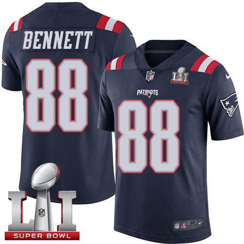 Nike Patriots #88 Martellus Bennett Navy Blue Super Bowl LI 51 Limited Rush Jersey