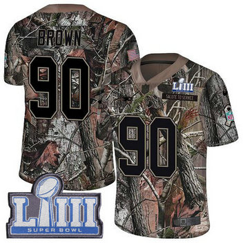 Nike Patriots #90 Malcom Brown Camo Super Bowl LIII Bound Men's Stitched NFL Limited Rush Realtree Jersey