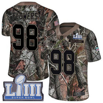 Nike Patriots #98 Trey Flowers Camo Super Bowl LIII Bound Men's Stitched NFL Limited Rush Realtree Jersey
