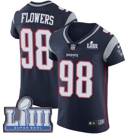 Nike Patriots #98 Trey Flowers Navy Blue Team Color Super Bowl LIII Bound Men's Stitched NFL Vapor Untouchable Elite Jersey