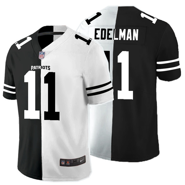 Nike Patriots 11 Julian Edelman Black And White Split Vapor Untouchable Limited Jersey