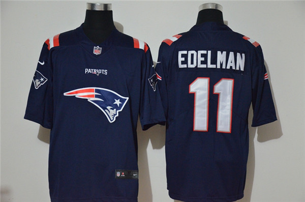 Nike Patriots 11 Julian Edelman Navy Team Big Logo Vapor Untouchable Limited Jersey