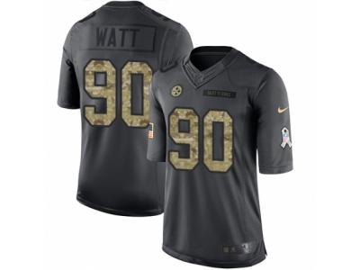 Nike Pittsburgh Steelers #90 T.J. Watt Limited Black 2016 Salute to Service Jersey