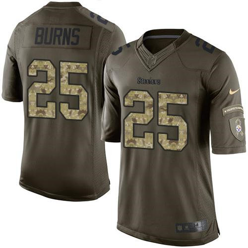 Nike Pittsburgh Steelers 25 Artie Burns Green NFL Limited Salute to Service Jersey