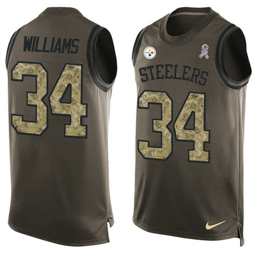 Nike Pittsburgh Steelers 34 DeAngelo Williams Green NFL Limited Salute To Service Tank Top Jersey