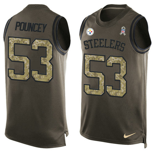 Nike Pittsburgh Steelers 53 Maurkice Pouncey Green NFL Limited Salute To Service Tank Top Jersey