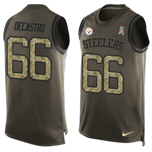 Nike Pittsburgh Steelers 66 David DeCastro Green NFL Limited Salute To Service Tank Top Jersey