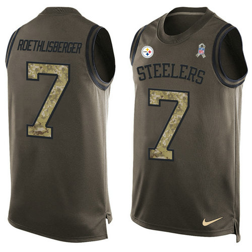 Nike Pittsburgh Steelers 7 Ben Roethlisberger Green NFL Limited Salute To Service Tank Top Jersey