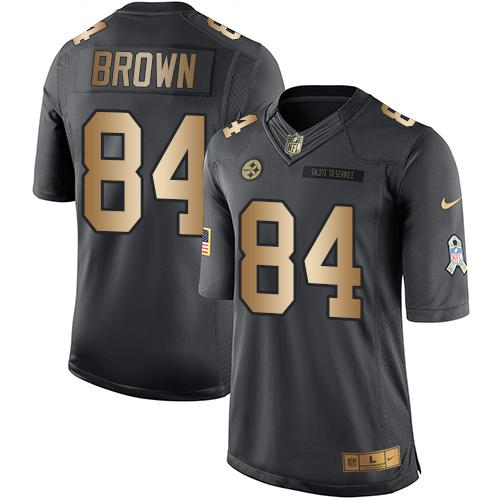 Nike Pittsburgh Steelers 84 Antonio Brown Black NFL Limited Gold Salute To Service Jersey