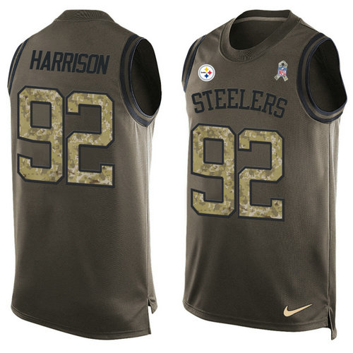 Nike Pittsburgh Steelers 92 James Harrison Green NFL Limited Salute To Service Tank Top Jersey