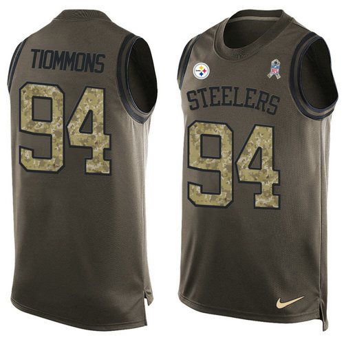 Nike Pittsburgh Steelers 94 Lawrence Timmons Green NFL Limited Salute To Service Tank Top Jersey
