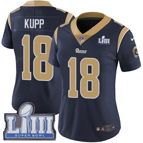 Nike Rams #18 Cooper Kupp Navy Blue Team Color Super Bowl LIII Bound Women's Stitched NFL Vapor Untouchable Limited Jersey