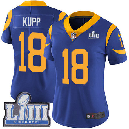 Nike Rams #18 Cooper Kupp Royal Blue Alternate Super Bowl LIII Bound Women's Stitched NFL Vapor Untouchable Limited Jersey
