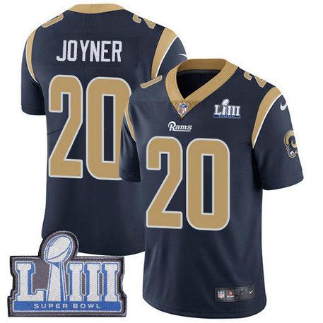 Nike Rams #20 Lamarcus Joyner Navy Blue Team Color Super Bowl LIII Bound Men's Stitched NFL Vapor Untouchable Limited Jersey