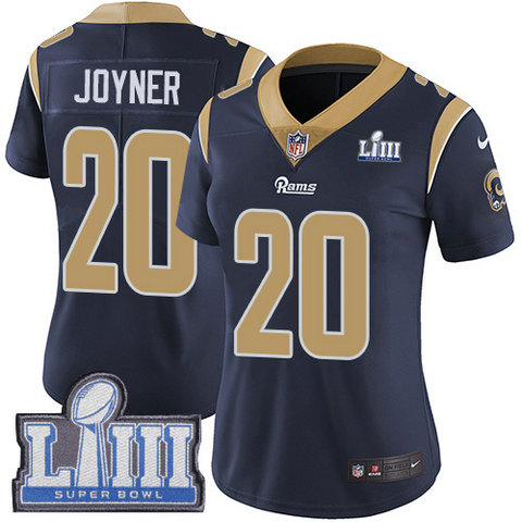 Nike Rams #20 Lamarcus Joyner Navy Blue Team Color Super Bowl LIII Bound Women's Stitched NFL Vapor Untouchable Limited Jersey