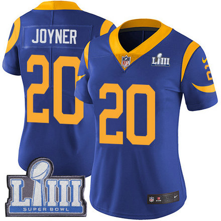 Nike Rams #20 Lamarcus Joyner Royal Blue Alternate Super Bowl LIII Bound Women's Stitched NFL Vapor Untouchable Limited Jersey
