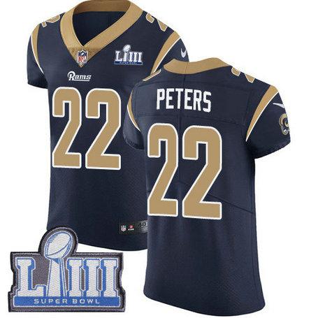 Nike Rams #22 Marcus Peters Navy Blue Team Color Super Bowl LIII Bound Men's Stitched NFL Vapor Untouchable Elite Jersey