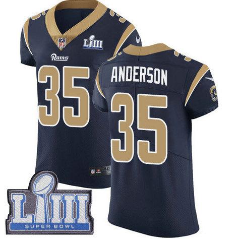Nike Rams #35 C.J. Anderson Navy Blue Team Color Super Bowl LIII Bound Men's Stitched NFL Vapor Untouchable Elite Jersey