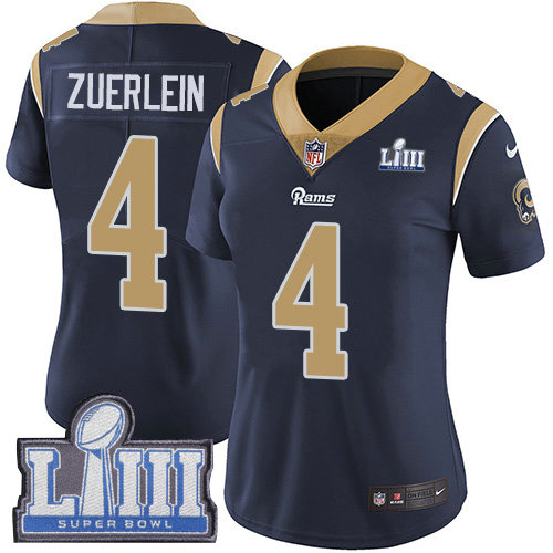 Nike Rams #4 Greg Zuerlein Navy Blue Team Color Super Bowl LIII Bound Women's Stitched NFL Vapor Untouchable Limited Jersey