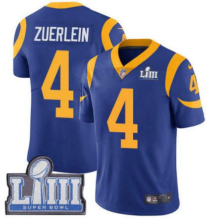 Nike Rams #4 Greg Zuerlein Royal Blue Alternate Super Bowl LIII Bound Men's Stitched NFL Vapor Untouchable Limited Jersey