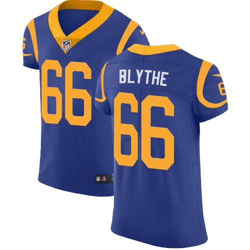 Nike Rams #66 Austin Blythe Royal Blue Alternate Men's Stitched NFL New Elite Jersey