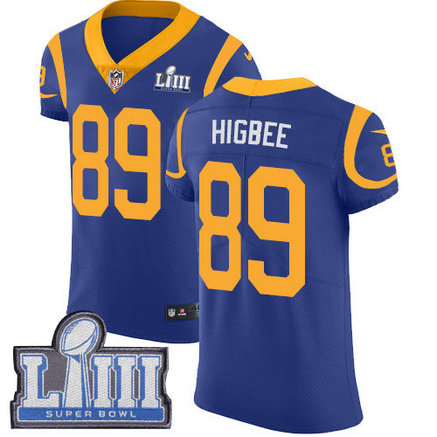 Nike Rams #89 Tyler Higbee Royal Blue Alternate Super Bowl LIII Bound Men's Stitched NFL Vapor Untouchable Elite Jersey