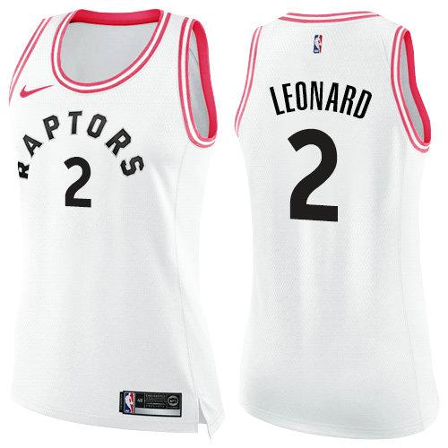 Nike Raptors #2 Kawhi Leonard White Pink Women's NBA Swingman Fashion Jersey