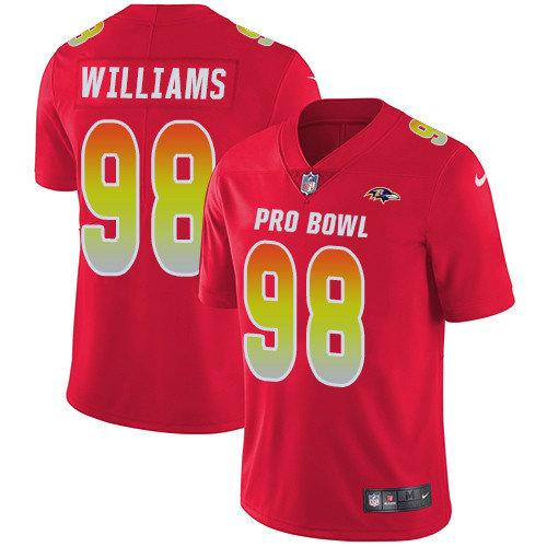 Nike Ravens #98 Brandon Williams Red Men's Stitched NFL Limited AFC 2019 Pro Bowl Jersey