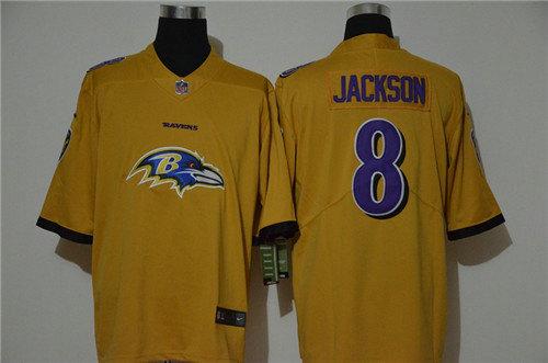 Nike Ravens 8 Lamar Jackson Yellow Vapor Untouchable Limited Jersey