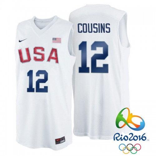 Nike Rio 2016 Olympics USA Dream Team 12 DeMarcus Cousins White Basketball Jersey