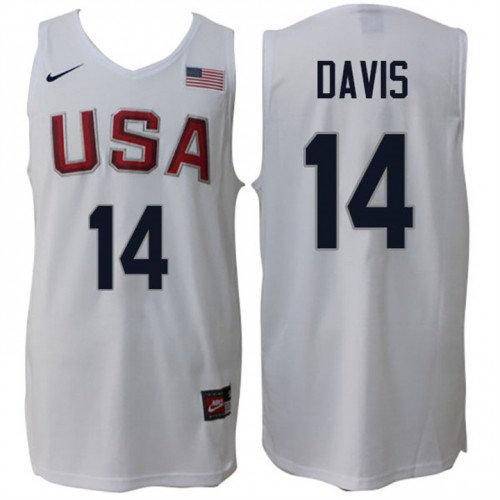 Nike Rio 2016 Olympics USA Dream Team 14 Anthony Davis Home White Basketball Jersey