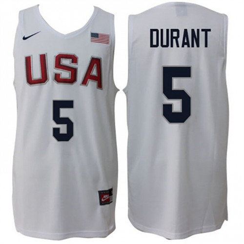 Nike Rio 2016 Olympics USA Dream Team 5 Kevin Durant Home White Basketball Jersey