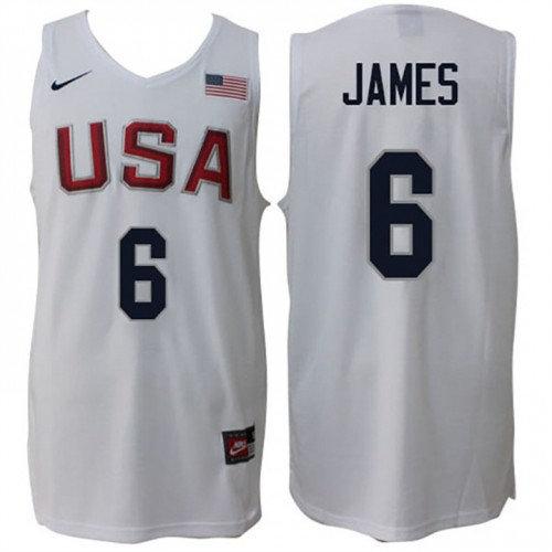 Nike Rio 2016 Olympics USA Dream Team 6 LeBron James Home White Basketball Jersey