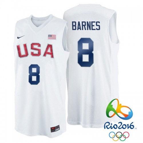 Nike Rio 2016 Olympics USA Dream Team 8 Harrison Barnes White Basketball Jersey