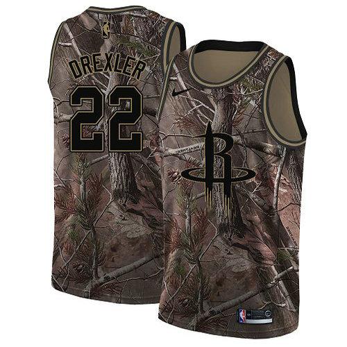 Nike Rockets #22 Clyde Drexler Camo Youth NBA Swingman Realtree Collection Jersey