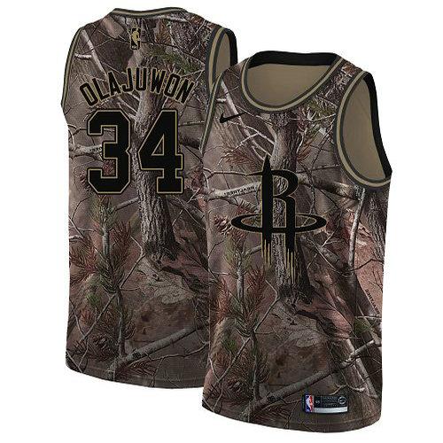 Nike Rockets #34 Hakeem Olajuwon Camo Youth NBA Swingman Realtree Collection Jersey