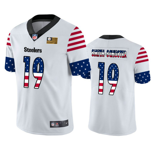 Nike Steelers 19 JuJu Smith-Schuster White USA Flag Fashion Limited Jersey