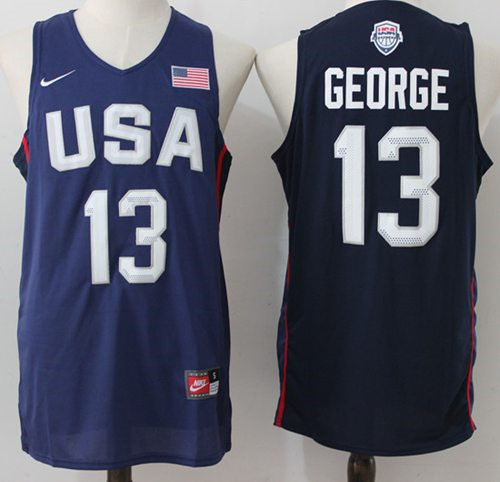 Nike Team USA 13 Paul George Navy Blue 2016 Dream Team NBA Jersey